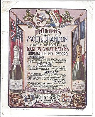 1903 Trade Card, Moet & Chandon Champagne, Bottles Shown, 1902 Statistics, etc.