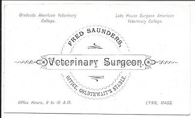 c1880s Business Cd, Veterinary Surgeon F. Saunders, Goldthwait's Stable, Lynn MA