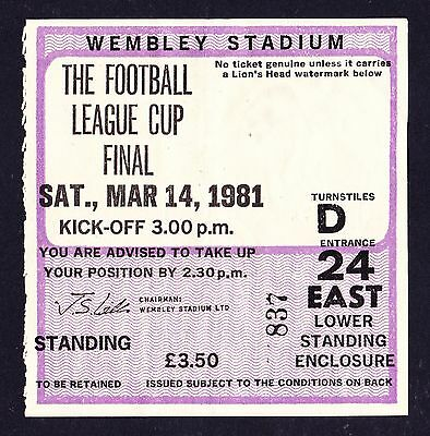 1981 League Cup Final LIVERPOOL v WEST HAM UNITED *VG Condition Ticket*