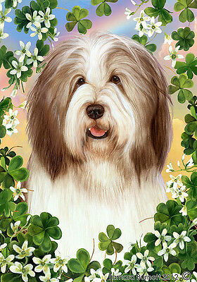 Large Indoor/Outdoor Clover Flag - Brown & White Bearded Collie 31482