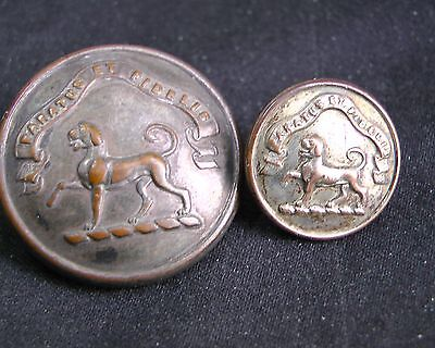 PAIR 19th C. STANDING TALBOT Dog w MOTTO SANDERSON FAMILY 25/15mm Livery Buttons