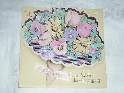 03- Easter for Sweatheart 1941 Vintage Greeting Card April bouquet flowers