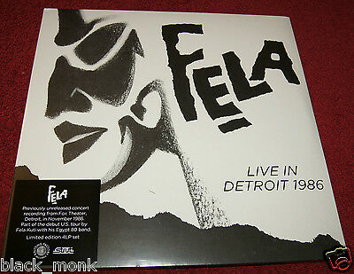 FELA KUTI LIVE IN DETROIT 1986 KNITTING FACTORY 4LP's NEW & SEALED!!! AFROBEAT