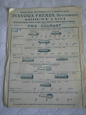 vintage catalogue early 1900s Tool Handle makers mallets taps Piavoux Frères