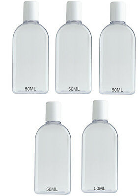 5 x 50ml Small Plastic Bottles PIP Letterbox Thin Royal Mail Large Letter Post