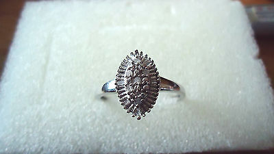 9ct white gold and diamond ring, size S, pre-worn
