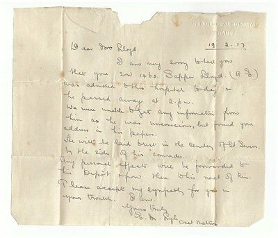 Two Letters From France To Chester 1917 ~ Death Of Son In The First World War