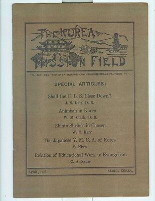 April 1925 Missionary Work in Korea