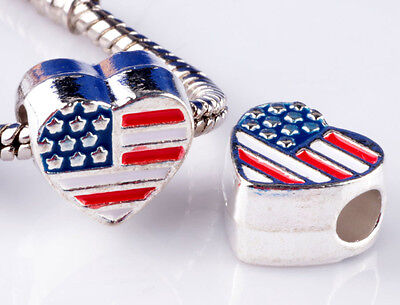 2pcs 925 Silver Painted Love US big hole Beads Fit European Charm Bracelet #D892