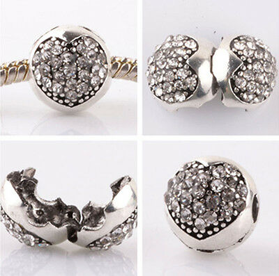 1pcs silver love ball White CZ snap beads fit Charm European Bracelet DIY B#954