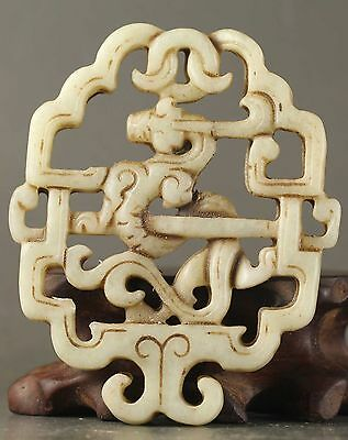 Chinese old natural jade hand-carved dragon design statue pendant 2.5 inch