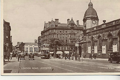 Postcard. London Road , Leicester and the Staation