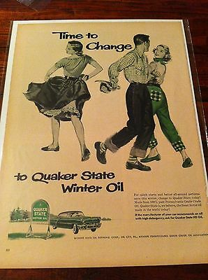 Vintage 1952 Quaker State Oil Time To Change People Square Dancing Print ad