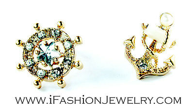 Gold Tone White Sailor Ship Wheel Anchor Stud EARRINGS Jewelry Gift Sea Lover