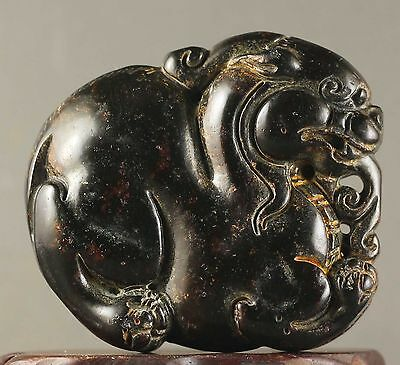 Chinese old natural jade hand-carved dragon design statue pendant 2.1 inch