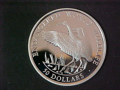 "1990 Cook Island $50. SILVER ""Whooping Crane"" Endangered world wildlife  RARE"