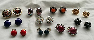 JOB LOT VINTAGE CLIP ON EARRINGS x 10 PAIRS IN LOVELY SPARKLING CONDITION
