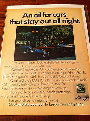 Vintage 1969 Quaker State An Oil For Cars That Stay Out All Night Print ad