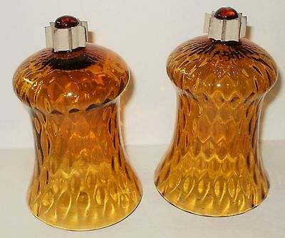 2 Home Interiors / Homco Amber Glass Votive Cups With Rubber Grippers  (A)