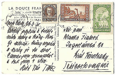 Monaco 1935 picture postcard to Czechoslovakia