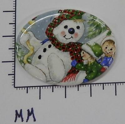 70865       Porcelain  -  Snowman With Kids  /  Oval  30x40  - by each SALE