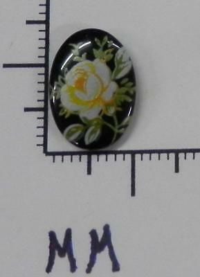 70343     Porcelain - Yellow Single Rose Floral / Blk. Oval 14x10  - by dz SALE