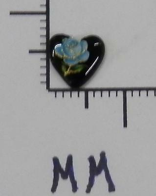 70329     Porcelain - Blue Rose On A Black Heart Shape 7.5 mm - by dz SALE