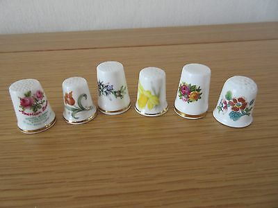 Flower pictures china thimbles 6 pieces, Royal Albert, Coalport, Wedgwood: