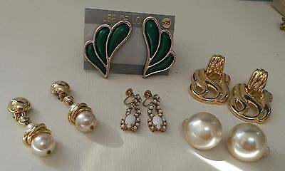 JOB LOT VINTAGE CLIP ON EARRINGS x 5 LARGE STATEMENT GOLD, PEARLS, ONE BNWT