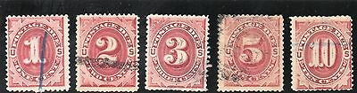 USA - Postage Dues - J22 - 26 (5) - Bright Claret - Used - CV $58
