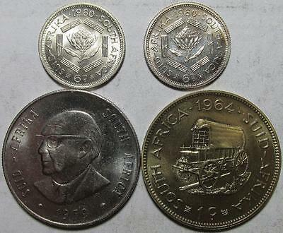 South Africa, 6 Pence 1960 1 BU & 1 Proof; Cent 1964 BU; Rand, 1979 Uncirculated