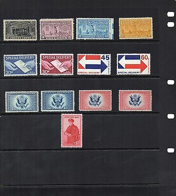 USA - Special Delivery and Certified Mail x 13 - Non and Hinged Mint