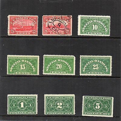 USA - Parcel Post,Special Handling,Parcel Dues x 9 - Used, Non and Hinged Mint
