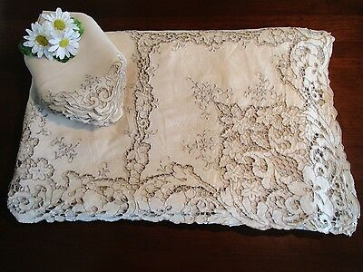 "Banquet Tablecloth 68"" x 140"" w/ 11 Napkins Embroidery Cutwork Vintage Exquisite"