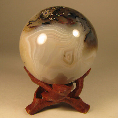 """2.1"""" BANDED AGATE Crystal Sphere Ball w/ Stand - Madagascar - 54mm"""