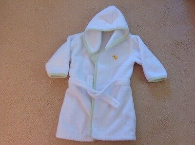 mothercare childs white/green towelling dressing gown age 1-2
