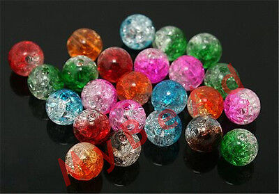 100pcs 6mm Mixed Color Ball Crystal Round Glass Spacers Beads Jewelry Diy