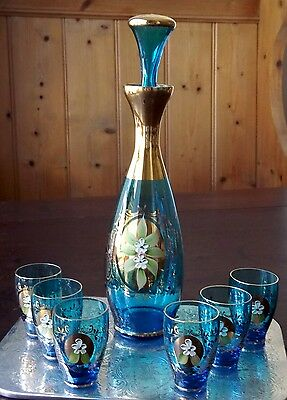 Vintage Bohemia Blue And Gold Decanter & 6 Glasses, Applied Flowers