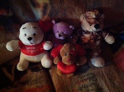 Collection of Stuffed Bears - Valentine, Military, etc. - New