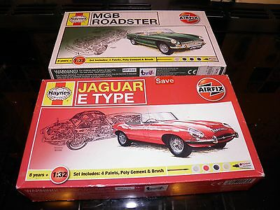 2 Airfix model car kits. Jaguar E Type and MG Roadster. Scale 1:32