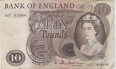 BANK OF ENGLAND £10 BANKNOTE Hollom Prefix A27