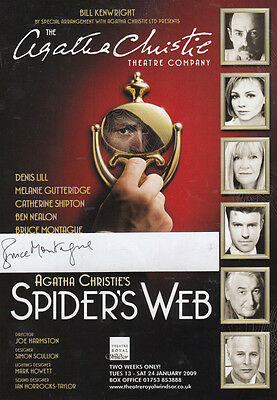 Bruce Montague in Agatha Christie Spiders Web Windsor Hand Signed Theatre Flyer