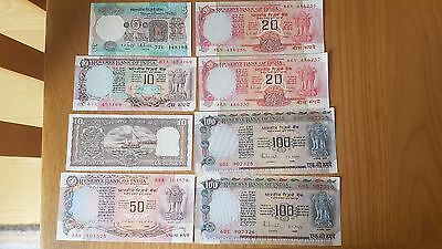 INDIA 1990s UNCIRCULATED BANKNOTES - 5, 10, 20, 50, 100 RUPEES - VG CONDITION