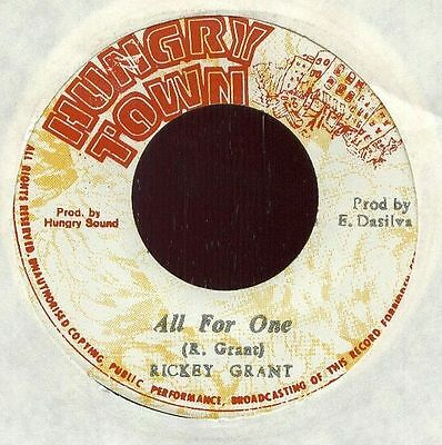 """RICKEY GRANT JA 1978 Reggae 7"""" Single Hungry Town ALL FOR ONE  PABLO"""