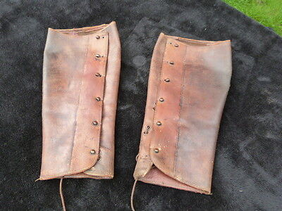Lovely Pair Of Antique Vintage Leather Ladies Gaiters.steam Punk.