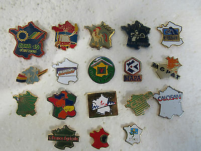 Lot De 18 Pin's Carte De France