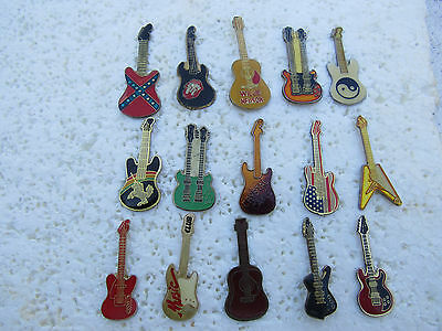 Lot De 15 Pin's Guitares