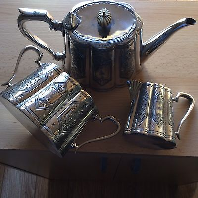 Vintage Silver Plated Tea Set Teapot, Sugar Bowl & Creamer/Milk Jug