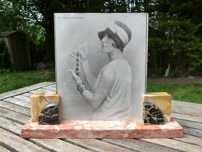 STUNNING LARGE ORIGINAL 1930s FRENCH ART DECO MARBLE & GLASS PICTURE/PHOTO FRAME