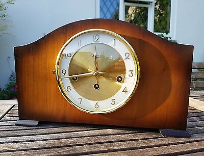 Large Mantle Clock Bentina 8 Day Vintage West German Westminster Chimes